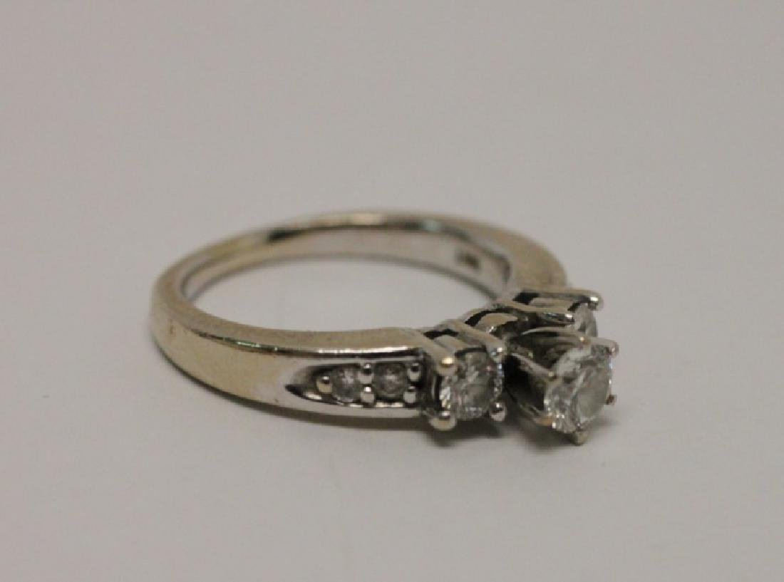 14k Gold & Diamond Wedding Band & Engagement Ring - 4