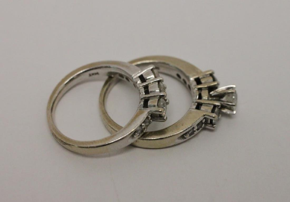 14k Gold & Diamond Wedding Band & Engagement Ring - 7