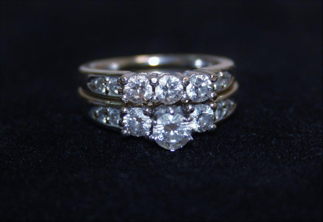 14k Gold & Diamond Wedding Band & Engagement Ring - 8