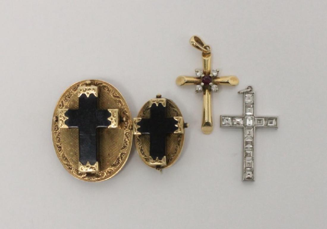 (4) Jewelry Crosses-14K Gold & Platinum w Diamonds