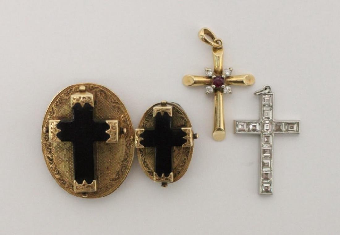 (4) Jewelry Crosses-14K Gold & Platinum w Diamonds - 2