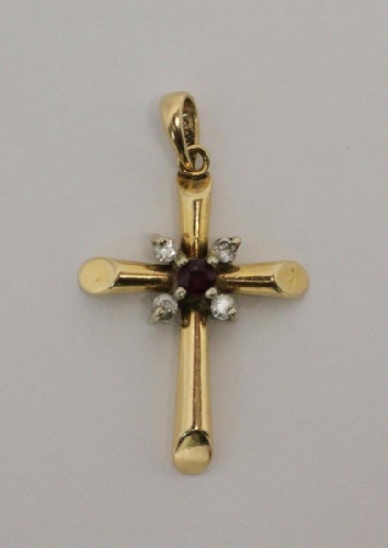 (4) Jewelry Crosses-14K Gold & Platinum w Diamonds - 6