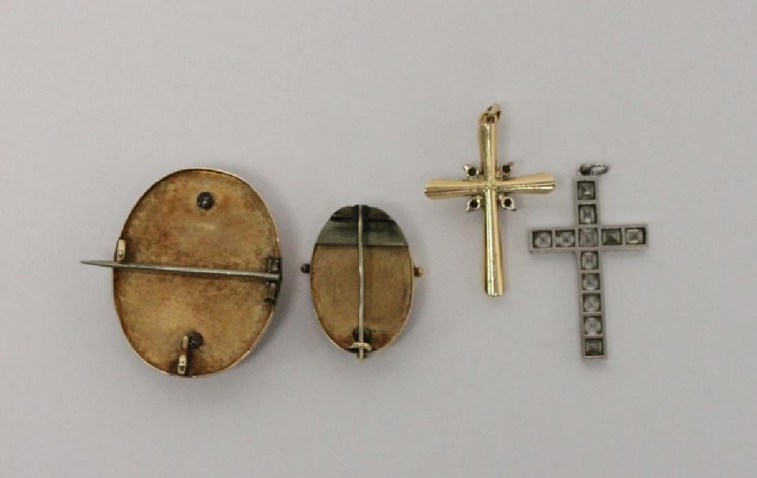 (4) Jewelry Crosses-14K Gold & Platinum w Diamonds - 9