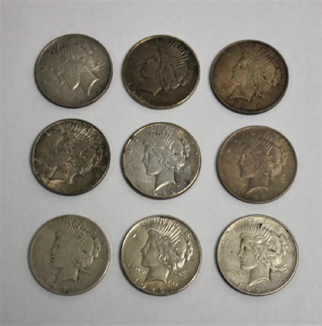 "(9) 1922-1926 ""Peace"" Silver Dollars 6.96 Troy Oz."