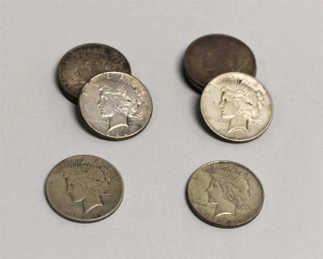 "(9) 1922-1926 ""Peace"" Silver Dollars 6.96 Troy Oz. - 2"