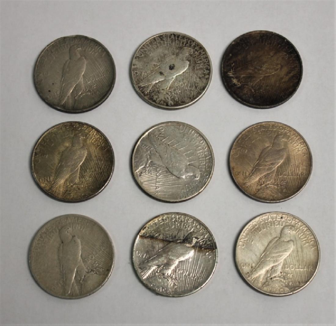 "(9) 1922-1926 ""Peace"" Silver Dollars 6.96 Troy Oz. - 3"