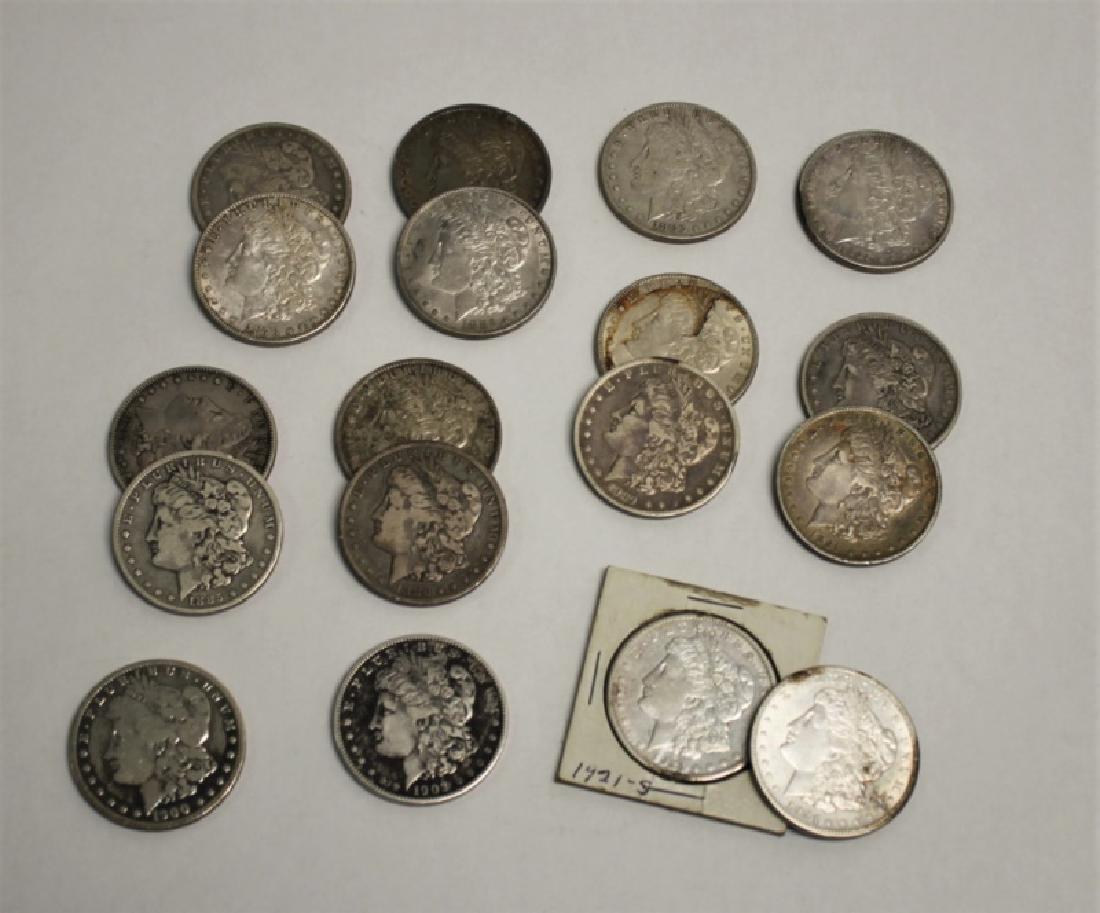 (18) 1873-1921 Morgan Silver Dollars 13.92 Troy Oz - 3