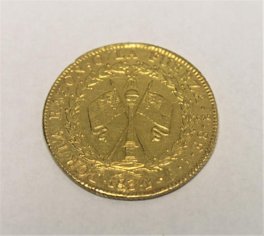1834 Chilean 8 Escudos Gold Coin = 0.85 Troy Oz.
