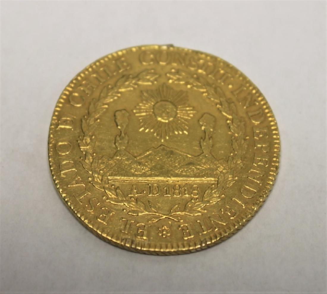 1834 Chilean 8 Escudos Gold Coin = 0.85 Troy Oz. - 2