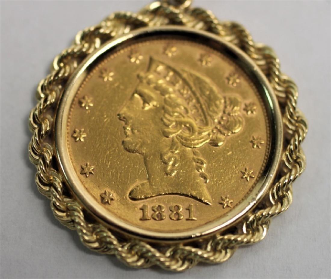 1881 Liberty Head Five Dollar Gold Coin Pendant - 3