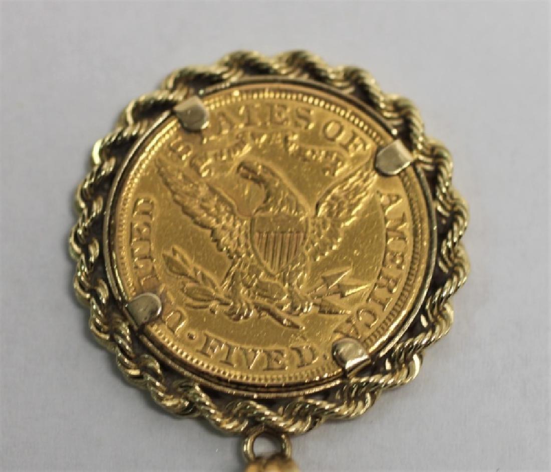1881 Liberty Head Five Dollar Gold Coin Pendant - 4