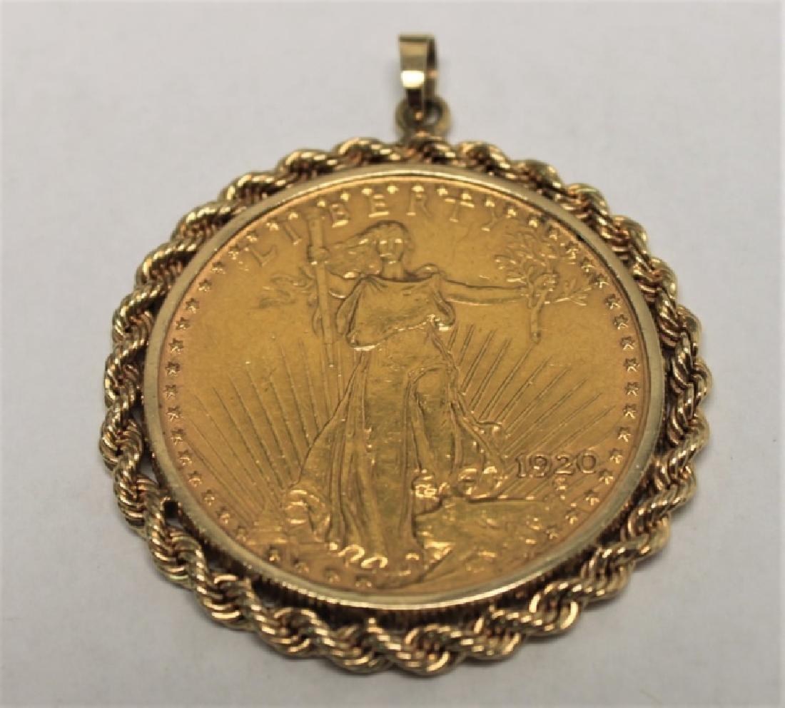 $20 Saint Gaudens Gold Double Eagle Coin Pendant