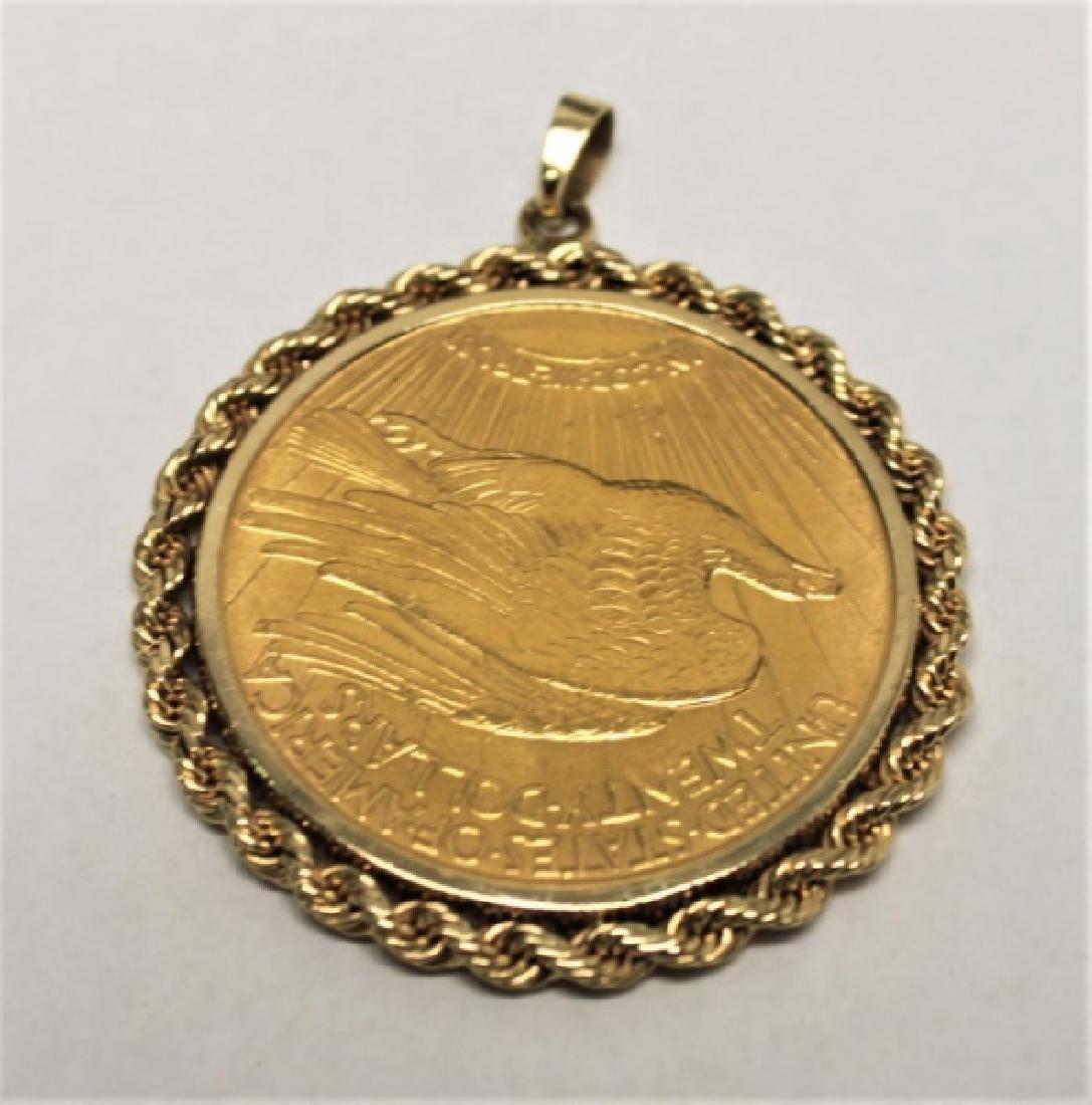 $20 Saint Gaudens Gold Double Eagle Coin Pendant - 2