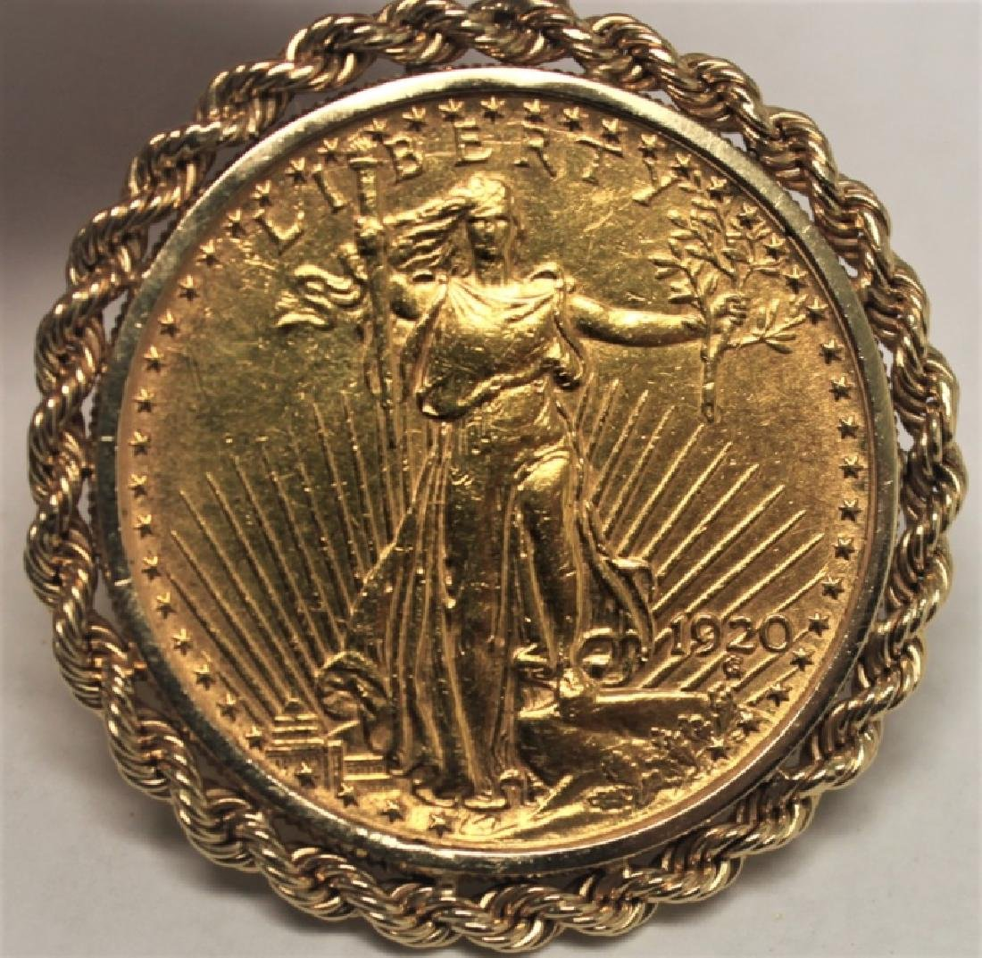 $20 Saint Gaudens Gold Double Eagle Coin Pendant - 4