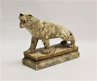 19th C Carved Marble Tiger w Glass Eyes