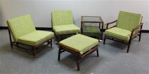 5 Pc Ficks Reed Bamboo Rattan Lounge Living Set