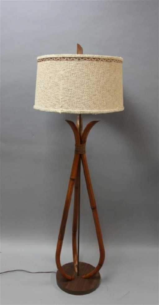 Mcm 1960s ficks reed bamboo rattan floor lamp mozeypictures Choice Image