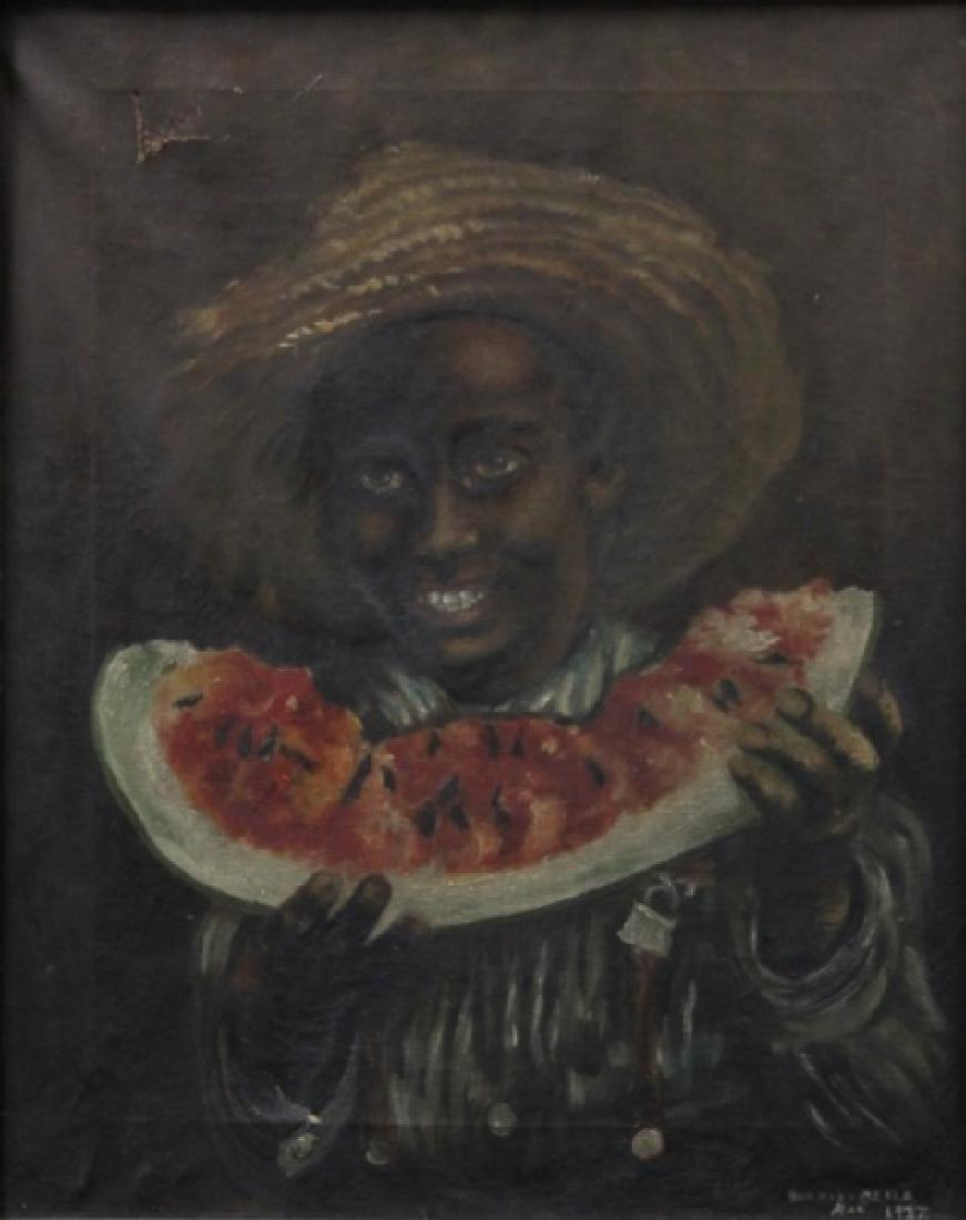 Bernice Olsen 1937 Black Boy w Watermelon Painting