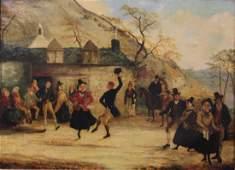C. Evans 1864 American Folk Art Painting, Dancers