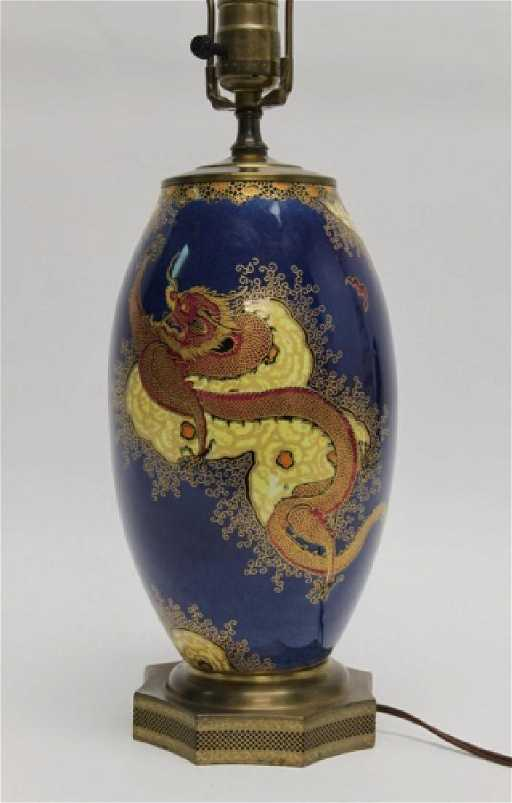 1920s Carlton Ware Chinoiserie Dragon Vase Lamp