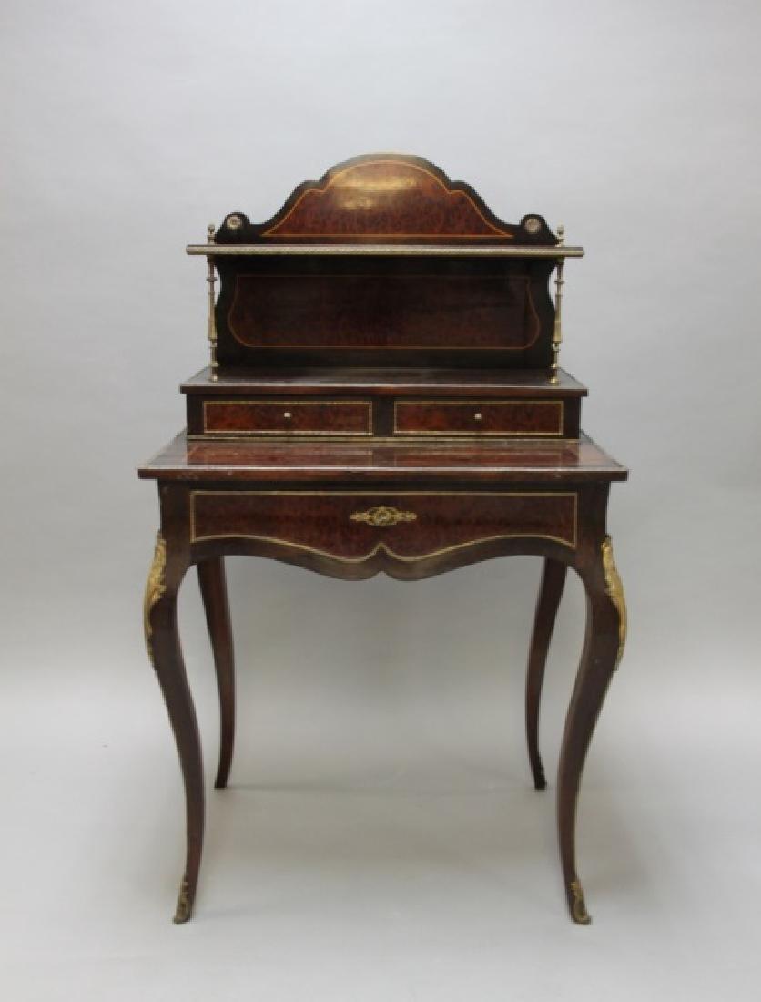 19C French Louis XV Burl Ormolu Writing Desk