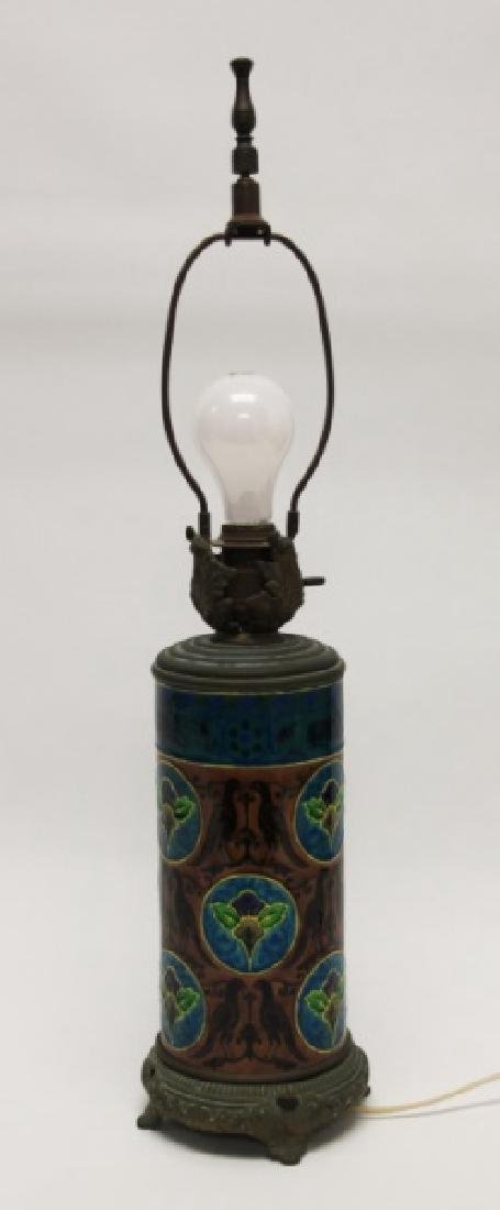 Antique Longwy Enamel Faience & Bronze Lamp Base