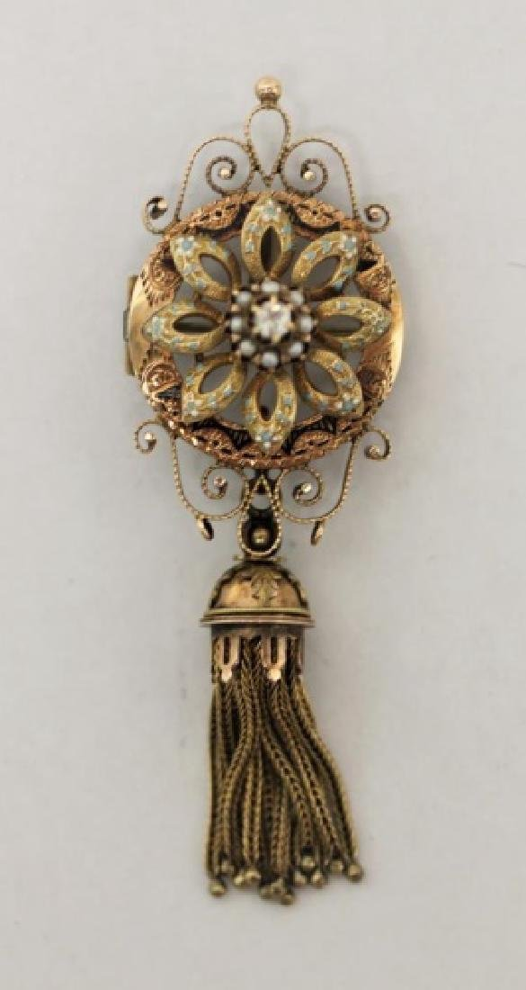 14K Rose Gold & Diamond Victorian Floral Brooch