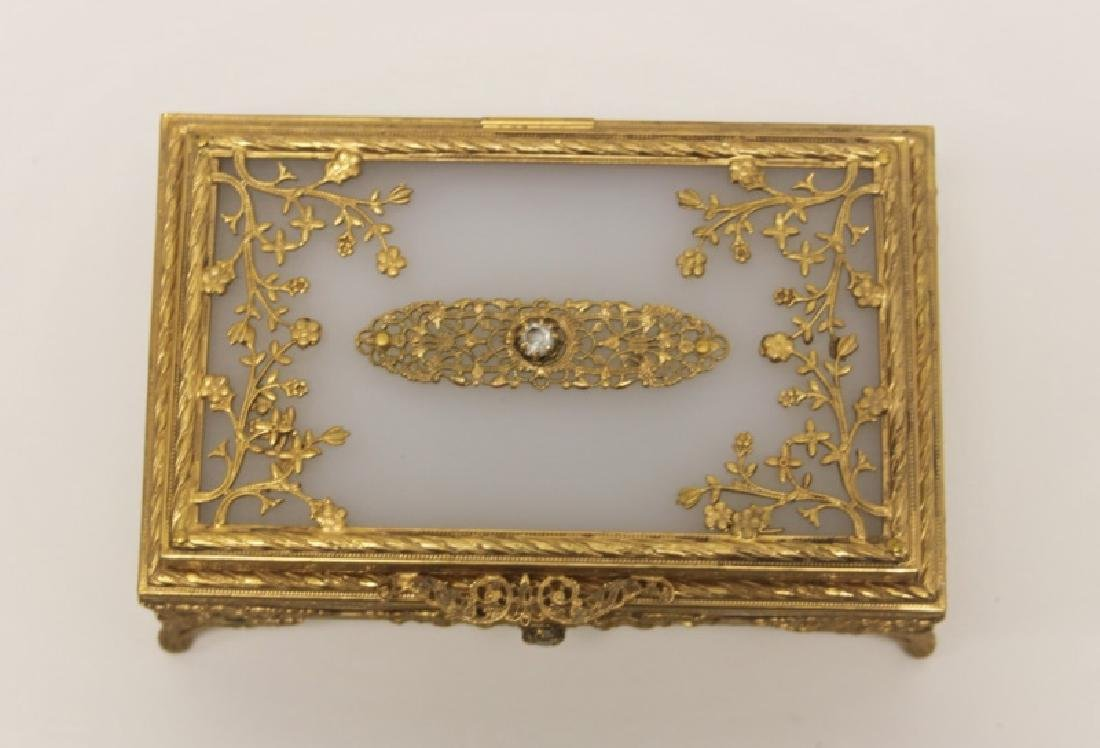 Vintage Louis XV Style Dore Bronze Jewelry Box - 4