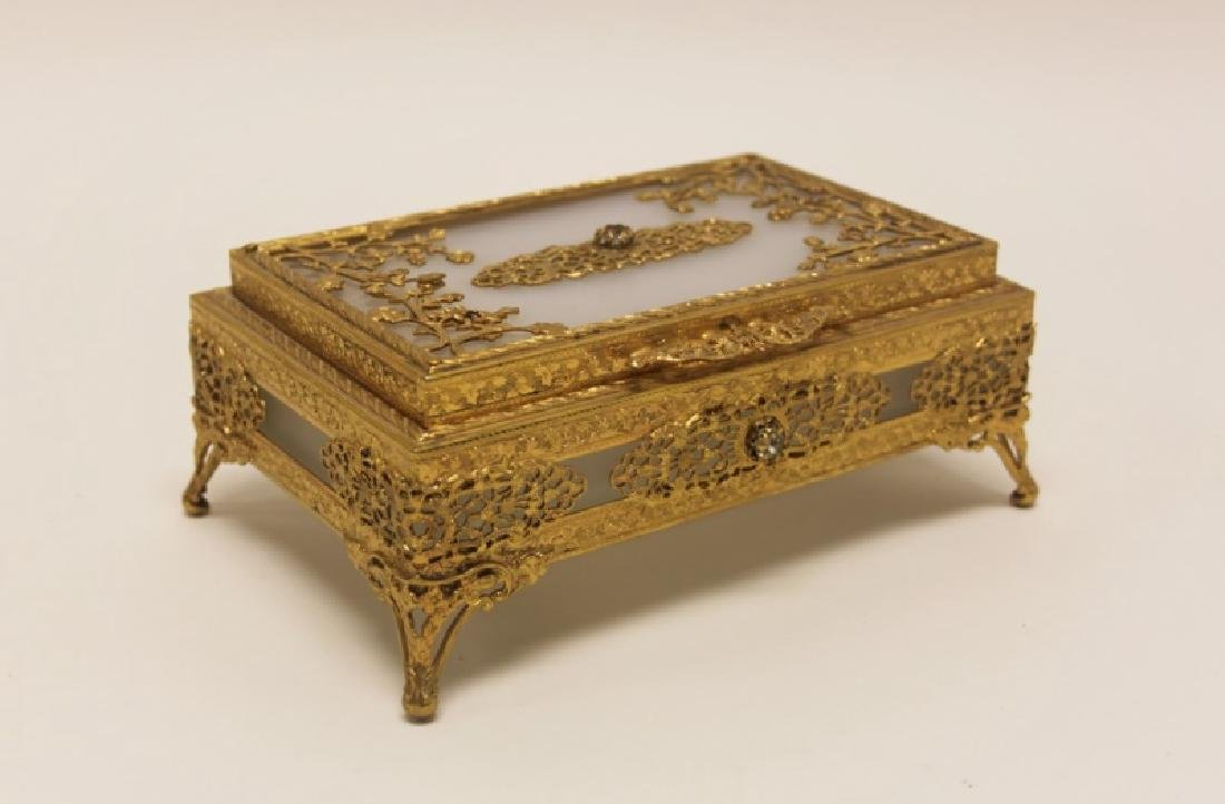 Vintage Louis XV Style Dore Bronze Jewelry Box - 8