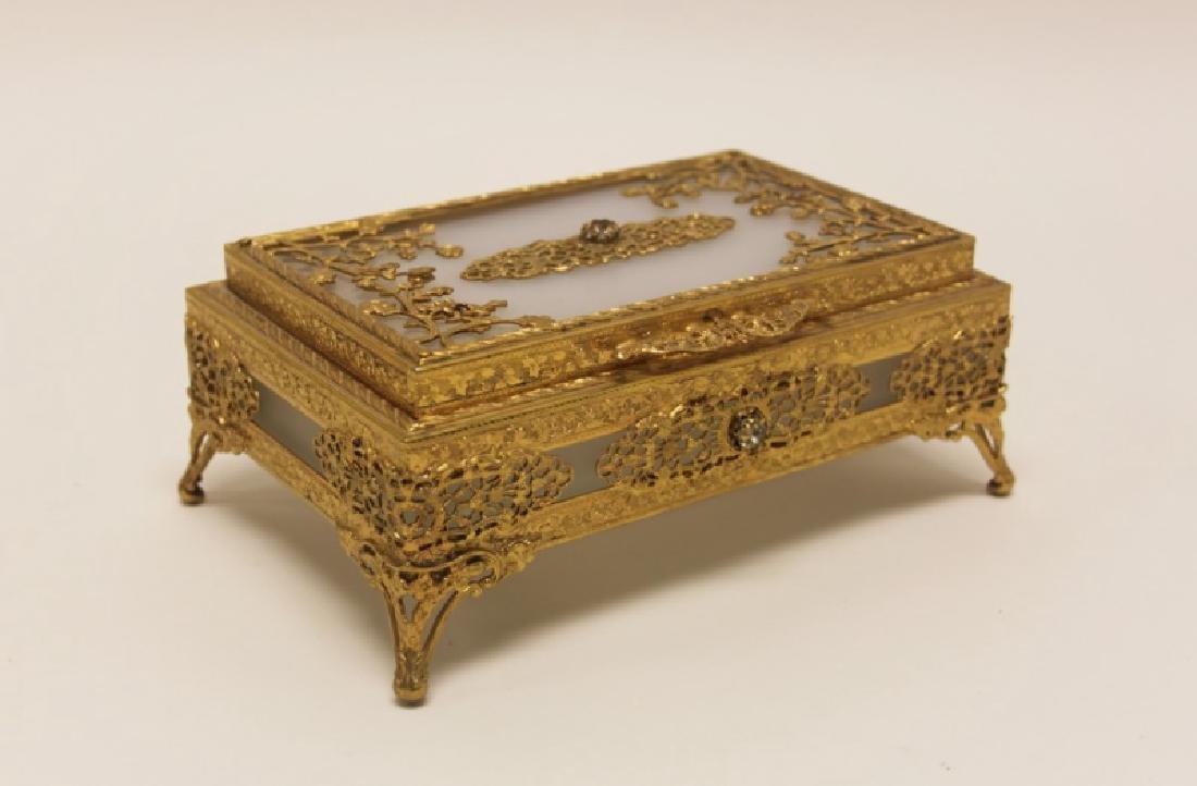 Vintage Louis XV Style Dore Bronze Jewelry Box - 8