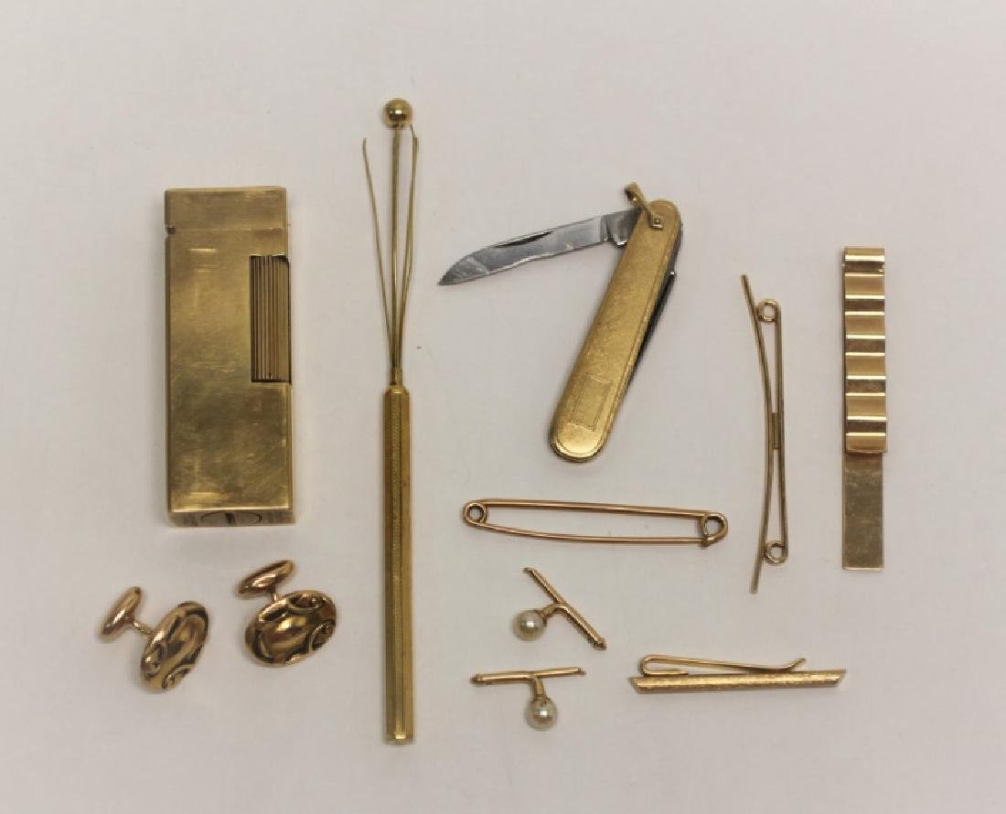 14K Gold Men's Lot: Cuff links, Lighter, Stirrer