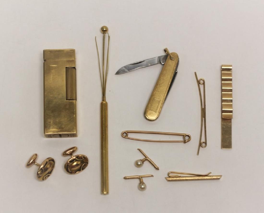 14K Gold Men's Lot: Cuff links, Lighter, Stirrer