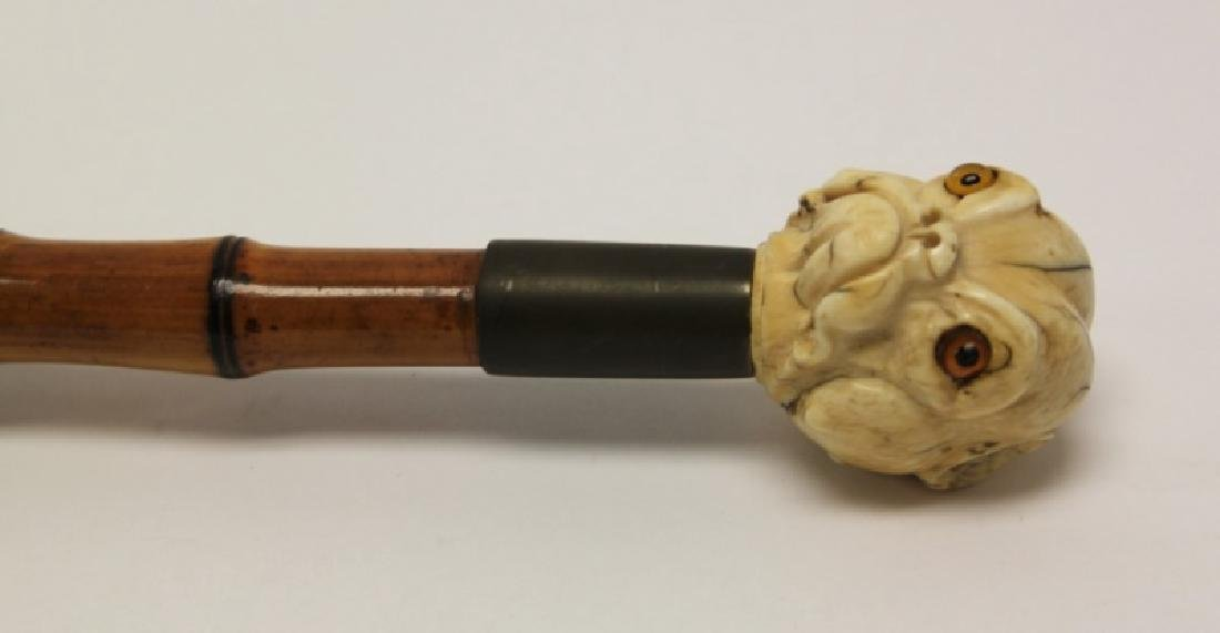 19C Carved Bulldog Grip Cane w Glass Eyes & Bamboo - 3