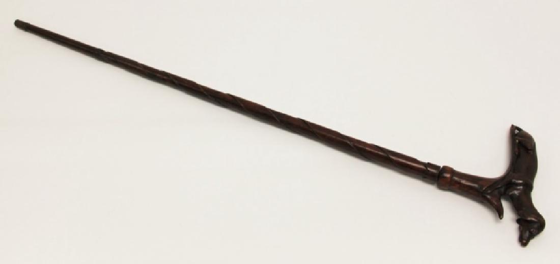 19C Folk Art Dachshund Handled Hidden Dagger Cane - 10