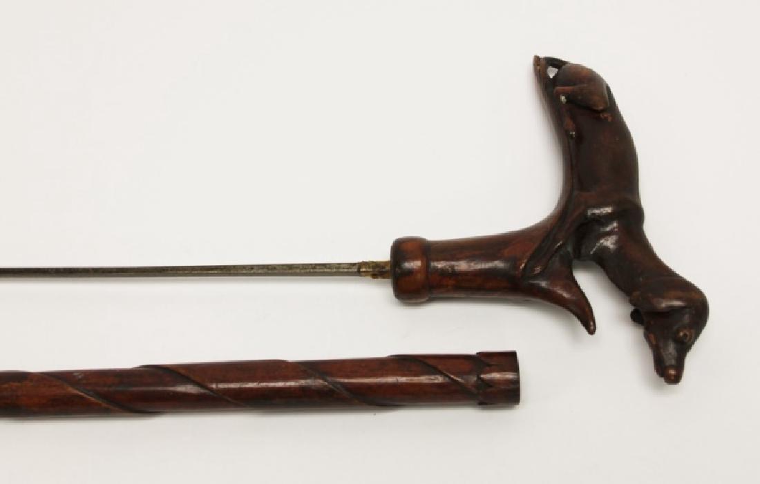 19C Folk Art Dachshund Handled Hidden Dagger Cane - 3