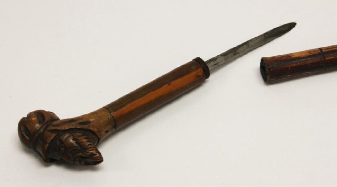 Antique Carved Head Handled Concealed Dagger Cane - 2