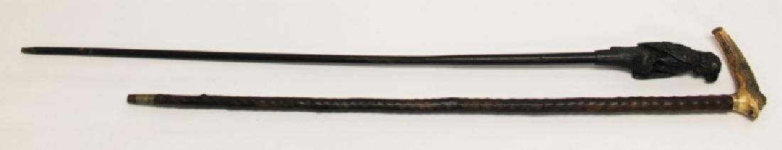 (2) Walking Sticks Carved Horn Alligator, Parrot