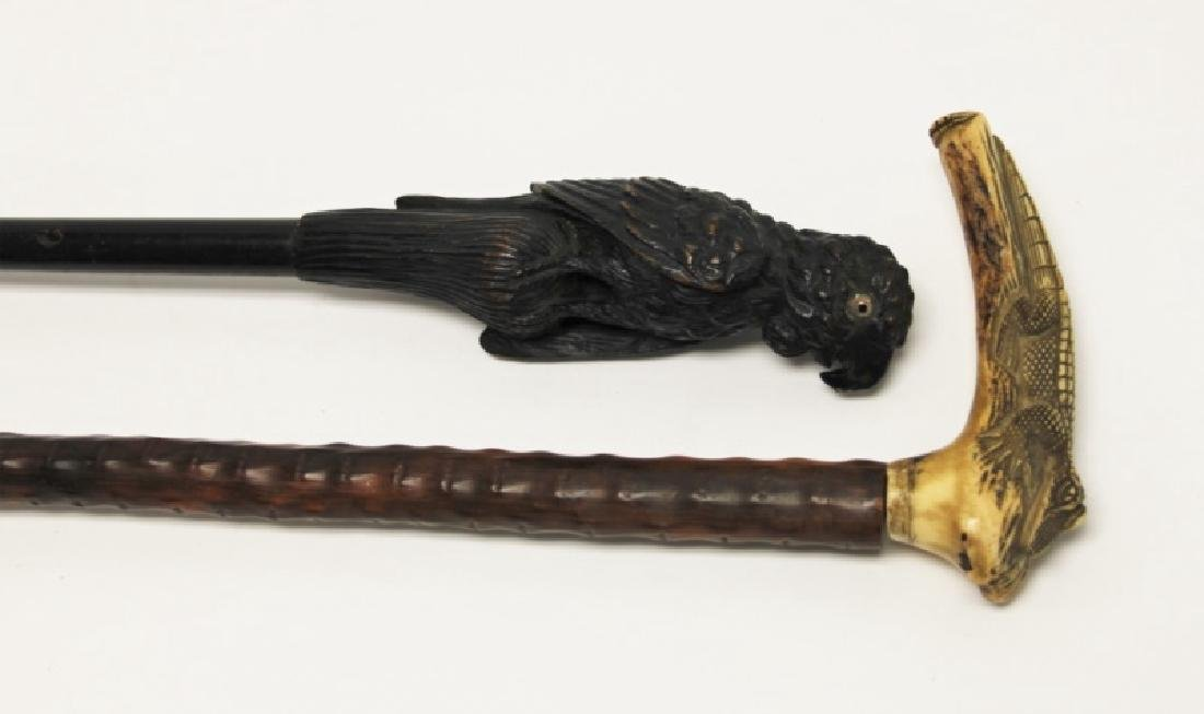 (2) Walking Sticks Carved Horn Alligator, Parrot - 2