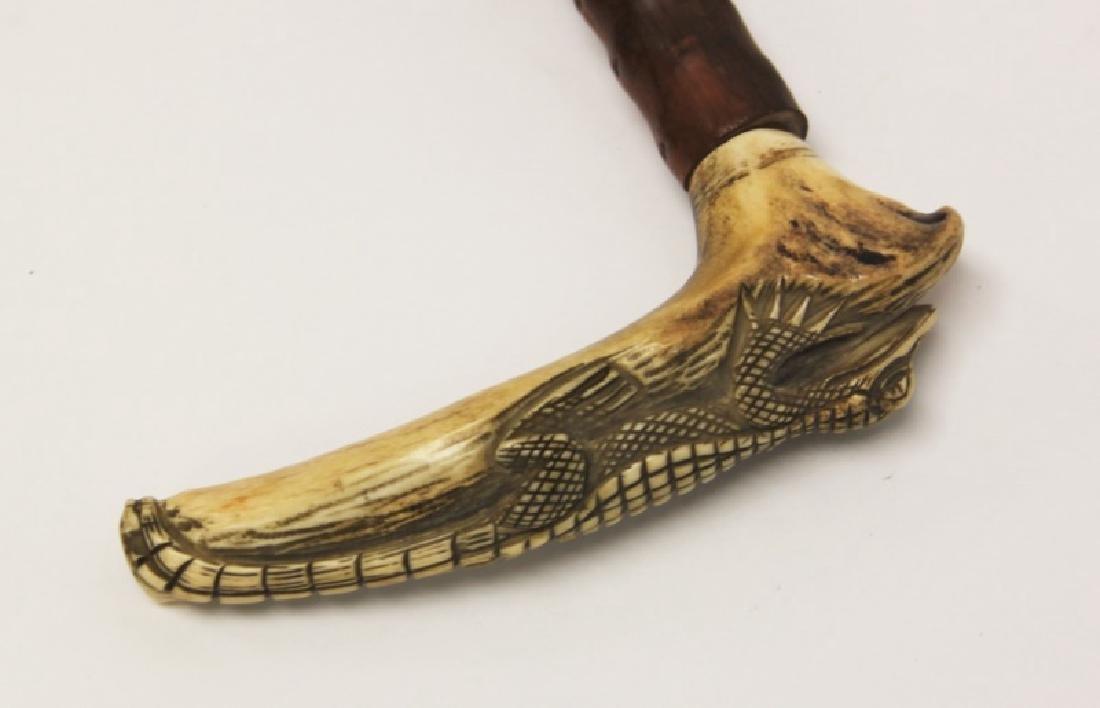 (2) Walking Sticks Carved Horn Alligator, Parrot - 4