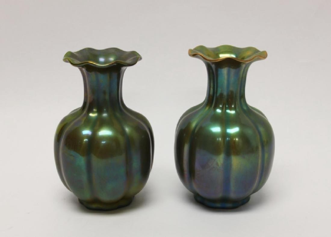 Pair Zsolnay Iridescent Pottery Gourd Form Vases