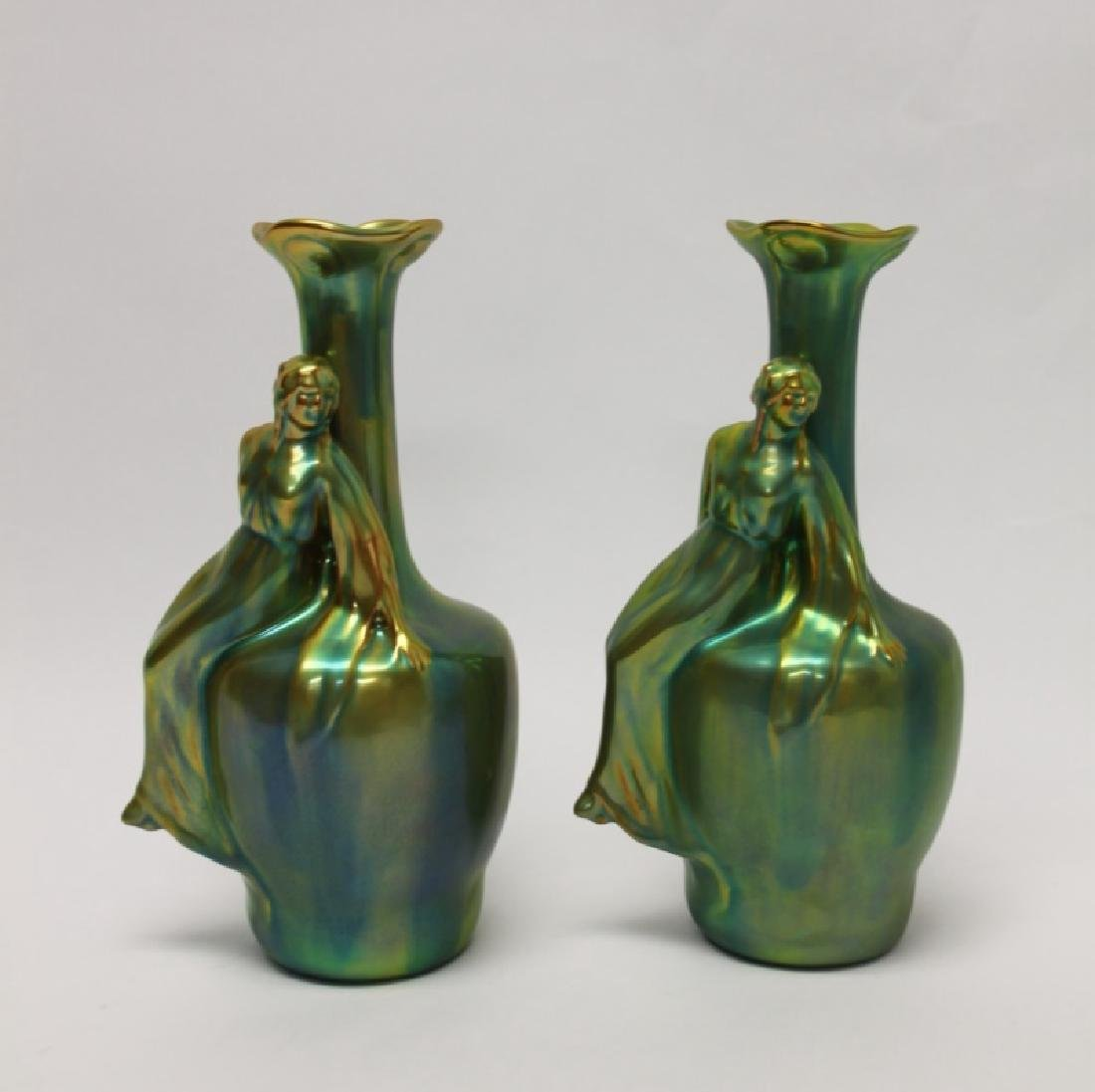 Pair of Zsolnay Iredescent Pottery Vases w/ Female