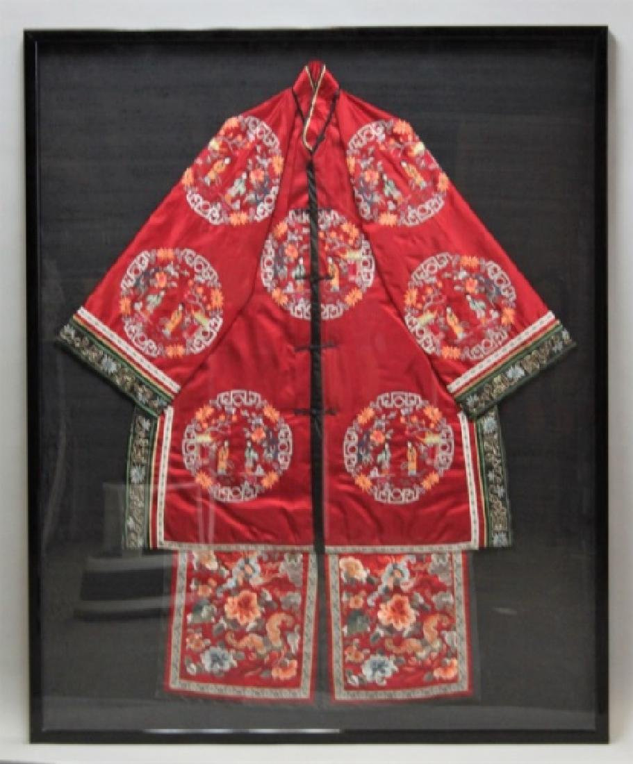 Framed Chinese Silk Embroidered Mandarin Jacket