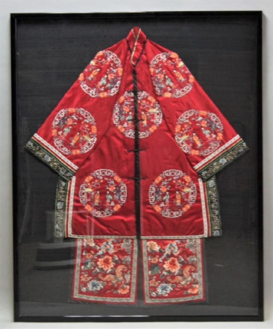 Framed Chinese Silk Embroidered Mandarin Jacket - 2