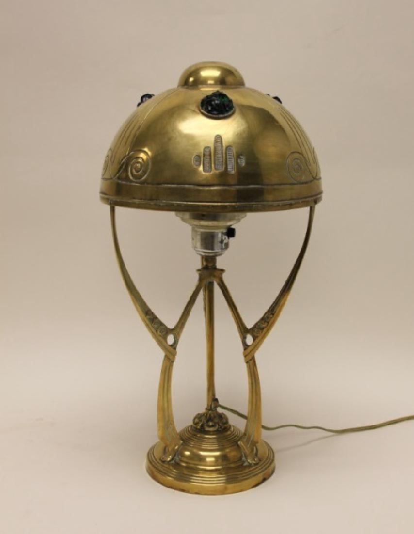 Austrian Art Nouveau Brass & Chunk Glass Lamp