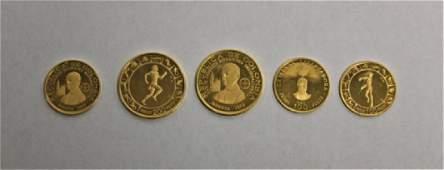 (5) Republica de Colombia Gold Pesos Coins