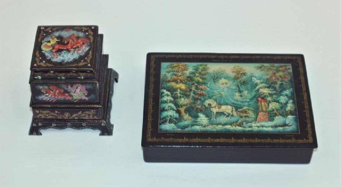 (2) Russian Fedoskino Lacquer Paper Mache Boxes
