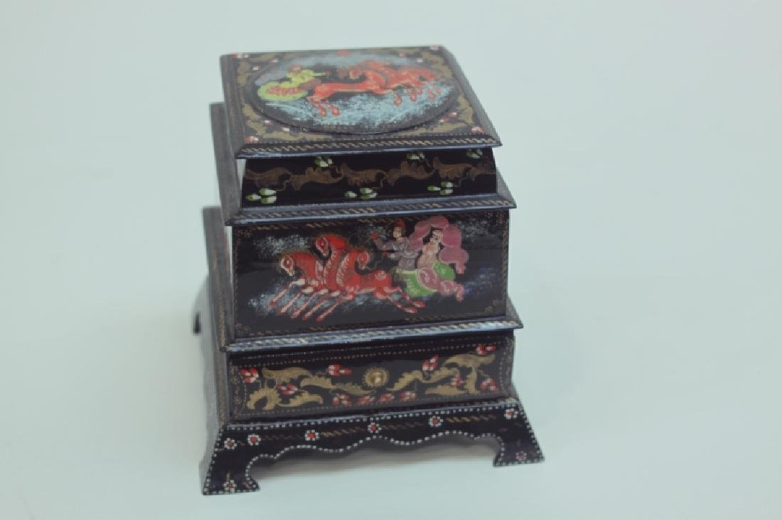 (2) Russian Fedoskino Lacquer Paper Mache Boxes - 2