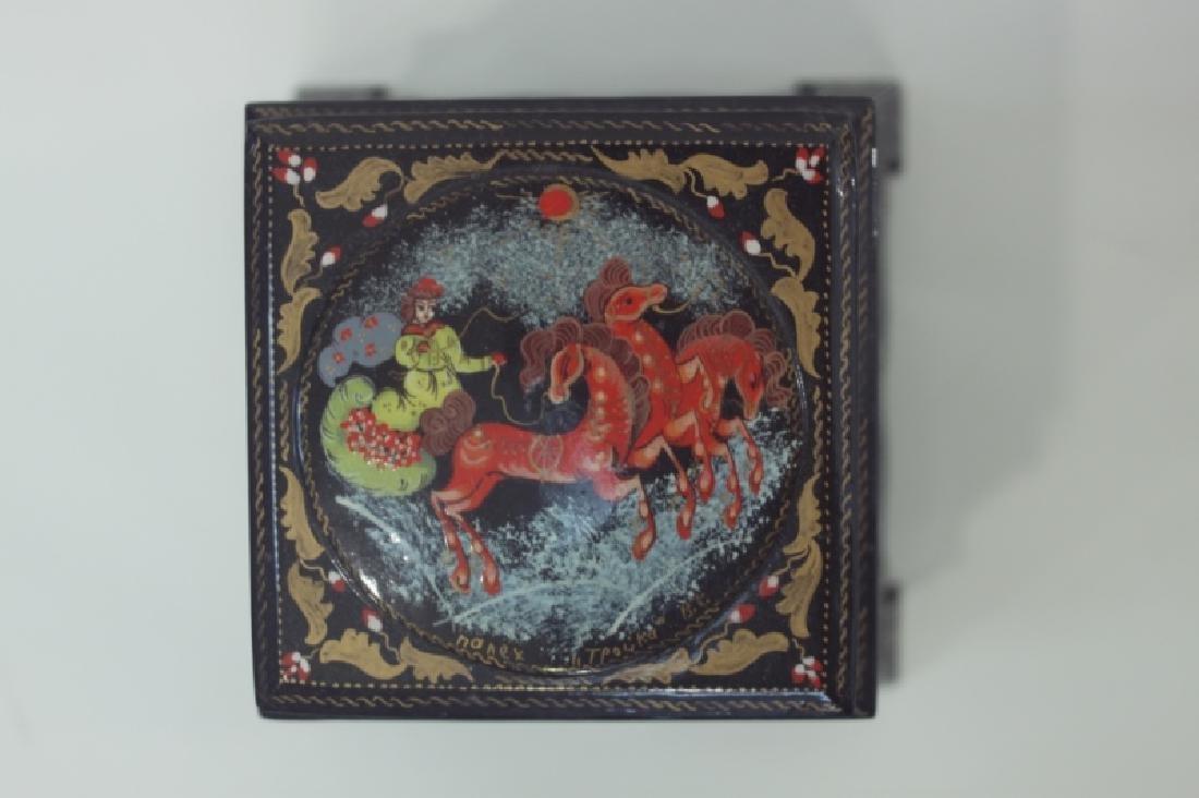(2) Russian Fedoskino Lacquer Paper Mache Boxes - 6