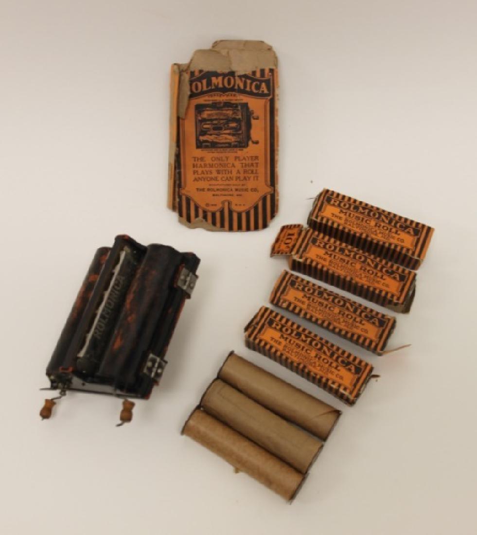 Rolmonica Bakelite Mouth Organ w 8 Music Rolls