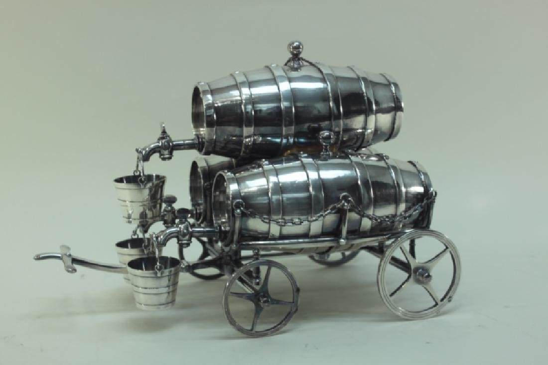 Silver Plate Three-Barrel Drink Cart Tantalus - 4